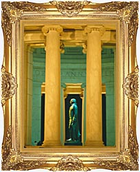 Visions of America Statue Of Thomas Jefferson Washington D C canvas with Majestic Gold frame