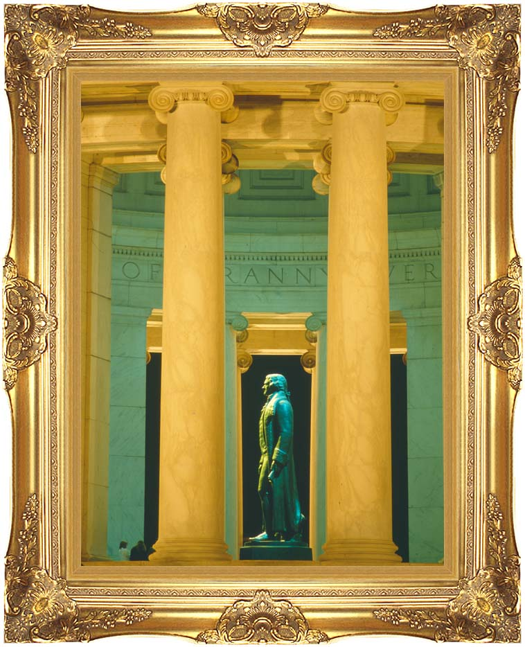 Visions of America Statue of Thomas Jefferson, Washington D C with Majestic Gold Frame