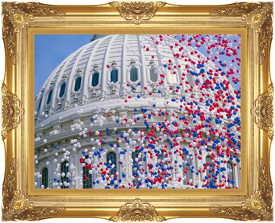 Visions of America U S Capitol Building Dome at Bicentennial Celebration with Majestic Gold Frame