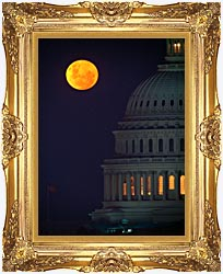 Visions of America Full Moon Over U S Capitol In Washington D C canvas with Majestic Gold frame