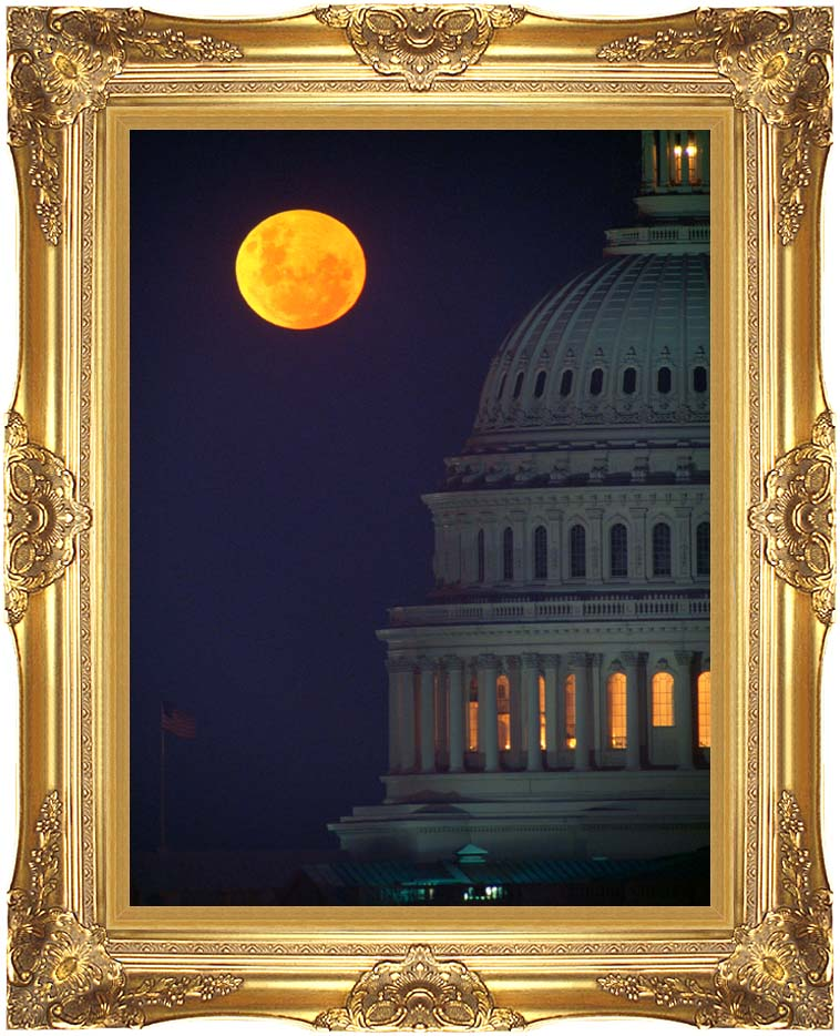 Visions of America Full Moon over U S Capitol in Washington, D C with Majestic Gold Frame