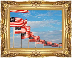Visions of America American Flags At Washington National Monument canvas with Majestic Gold frame