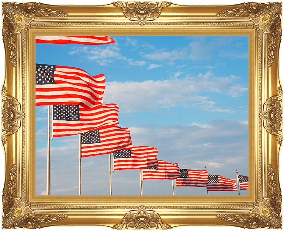 Visions of America American Flags at Washington National Monument with Majestic Gold Frame