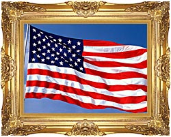 Visions of America American Flag Blowing In The Wind With A Blue Sky canvas with Majestic Gold frame