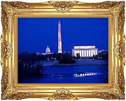 Visions of America Lincoln And Washington Monuments And U S Capitol canvas with Majestic Gold frame