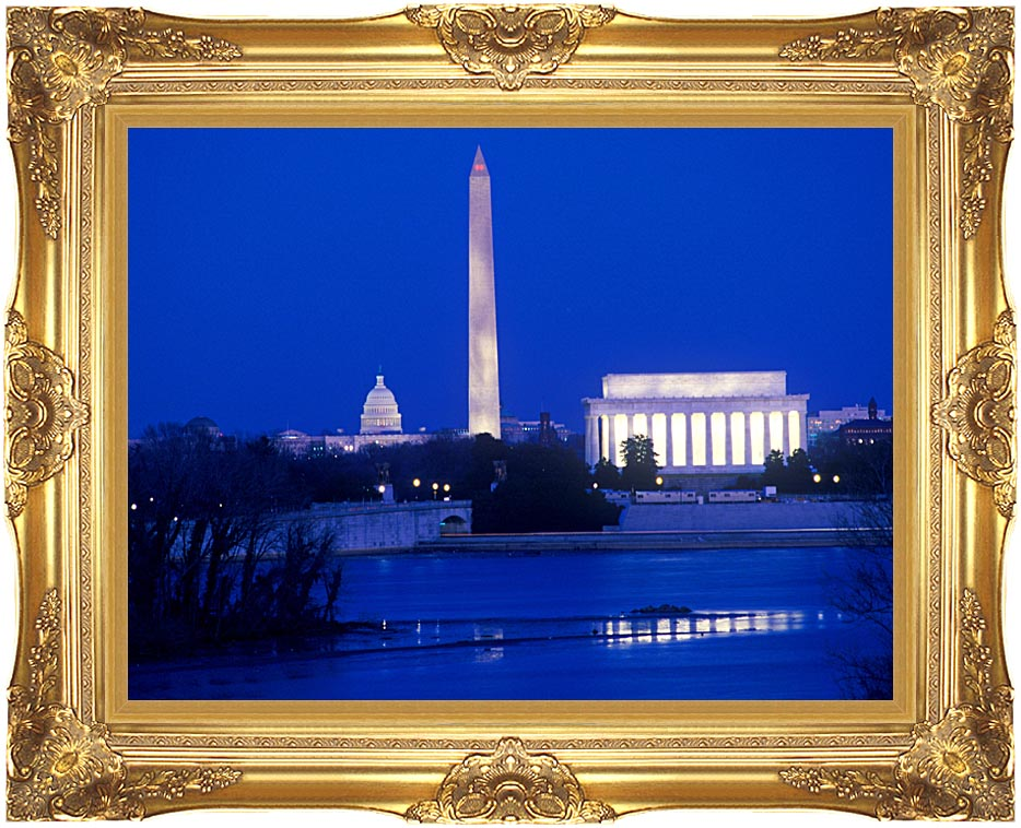 Visions of America Lincoln and Washington Monuments and U S Capitol with Majestic Gold Frame