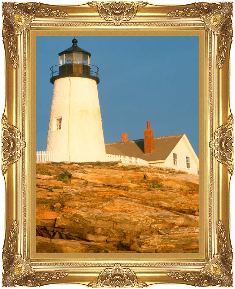 Visions of America Pemaquid Lighthouse, Maine with Majestic Gold Frame