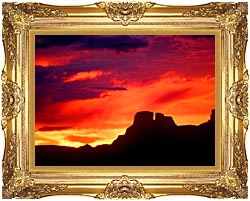 Visions of America Indian Ruins Chaco Canyon At Sunset New Mexico canvas with Majestic Gold frame