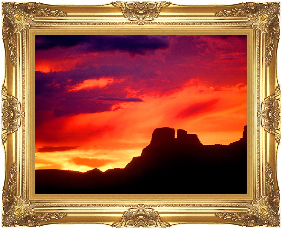 Visions of America Indian Ruins, Chaco Canyon at Sunset, New Mexico with Majestic Gold Frame