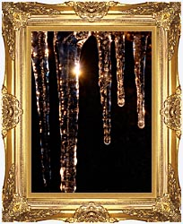Visions of America Close Up Of Icicles Acadia National Park Maine canvas with Majestic Gold frame