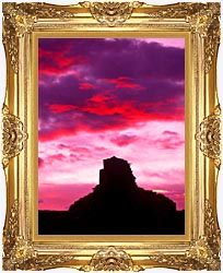 Visions of America Indian Ruins At Sunset Chaco Canyon New Mexico canvas with Majestic Gold frame