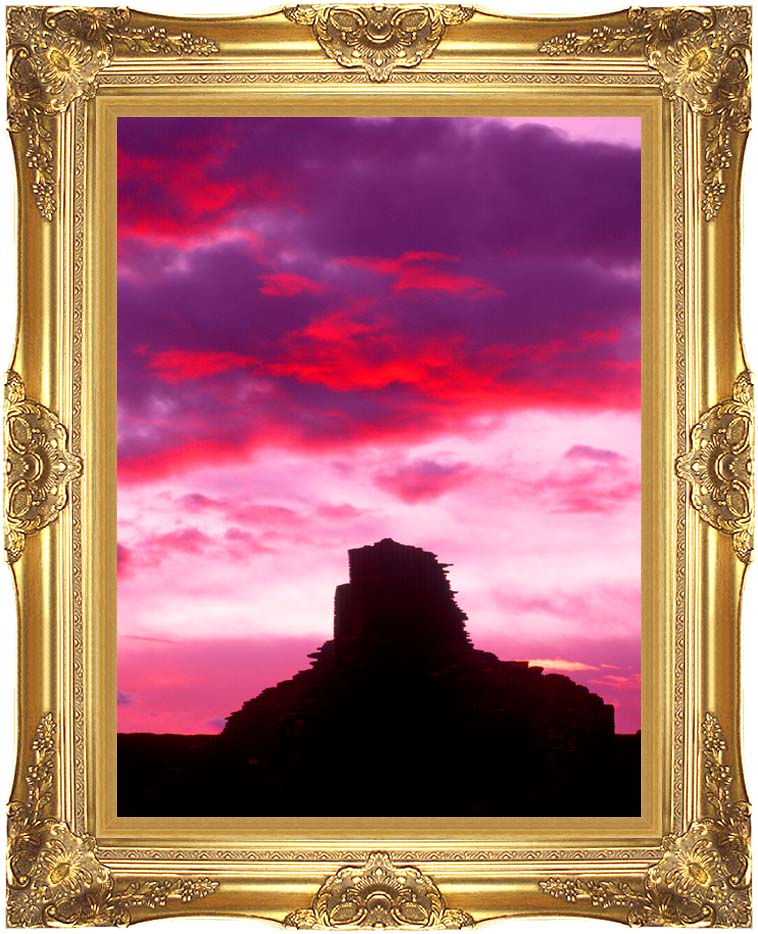 Visions of America Indian Ruins at Sunset, Chaco Canyon, New Mexico with Majestic Gold Frame