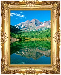Visions of America Maroon Bell Mountain And Maroon Lake Colorado canvas with Majestic Gold frame