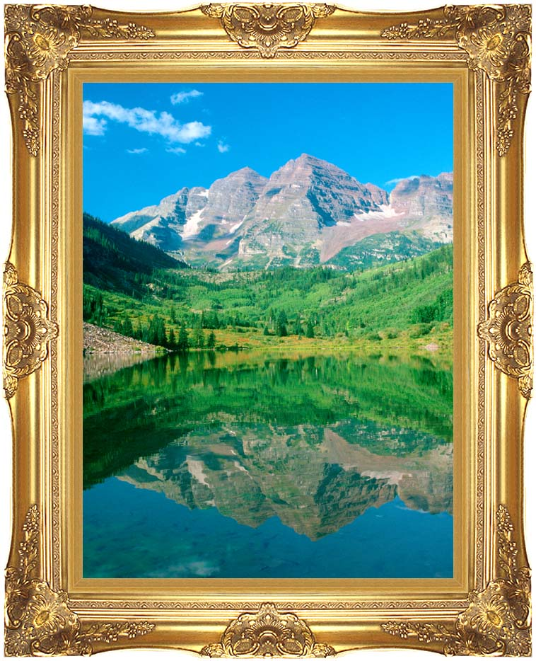 Visions of America Maroon Bell Mountain and Maroon Lake, Colorado with Majestic Gold Frame