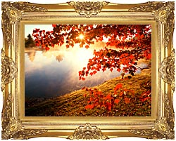 Visions of America Misty Pond With Autumn Leaves In Connecticut canvas with Majestic Gold frame