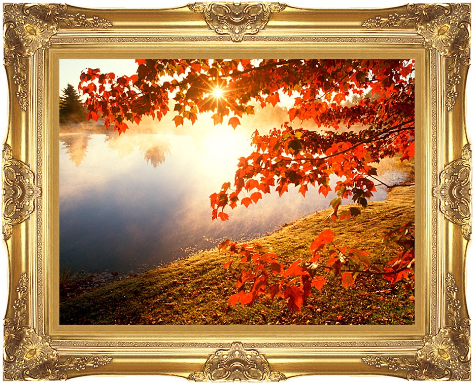 Visions of America Misty Pond with Autumn Leaves in Connecticut with Majestic Gold Frame