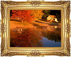 Visions of America Wood Shed On Lake In Autumn Connecticut canvas with Majestic Gold frame