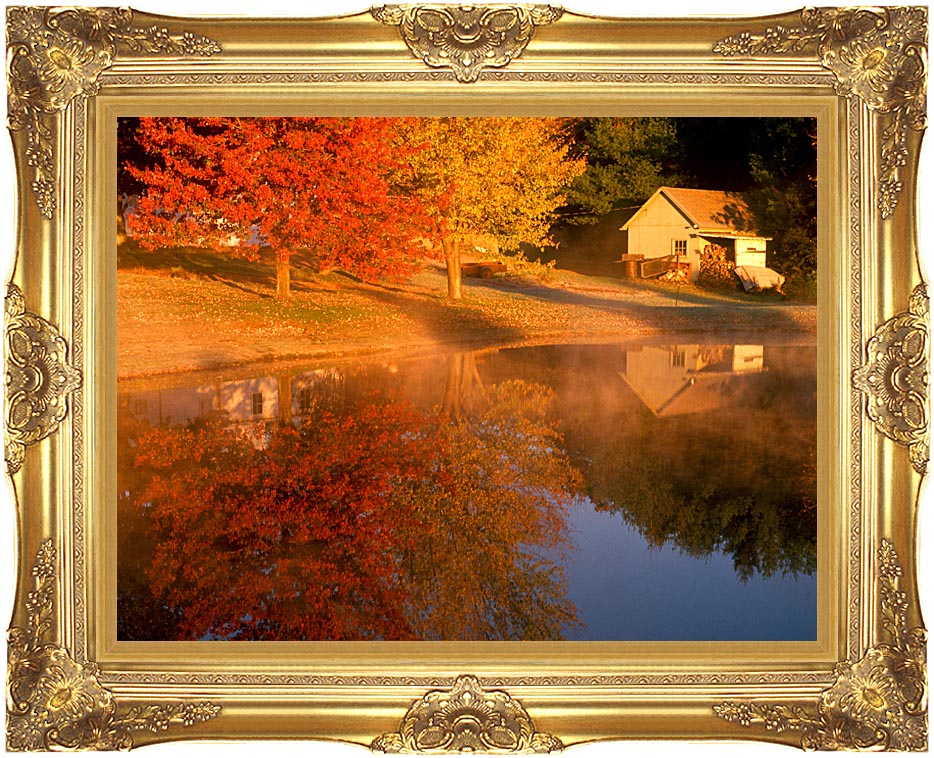 Visions of America Wood Shed on Lake in Autumn, Connecticut with Majestic Gold Frame