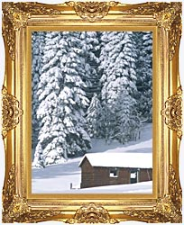 Visions of America Snow Covered Wooden Cabin In Forest California canvas with Majestic Gold frame