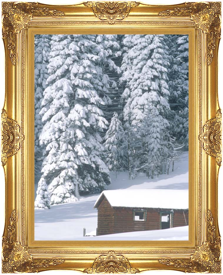 Visions of America Snow Covered Wooden Cabin in Forest, California with Majestic Gold Frame
