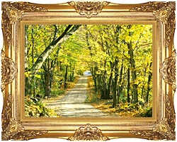 Visions of America Tree Covered Road In The Woods New England canvas with Majestic Gold frame