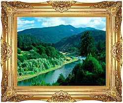 Visions of America Rogue River In Southern Oregon canvas with Majestic Gold frame