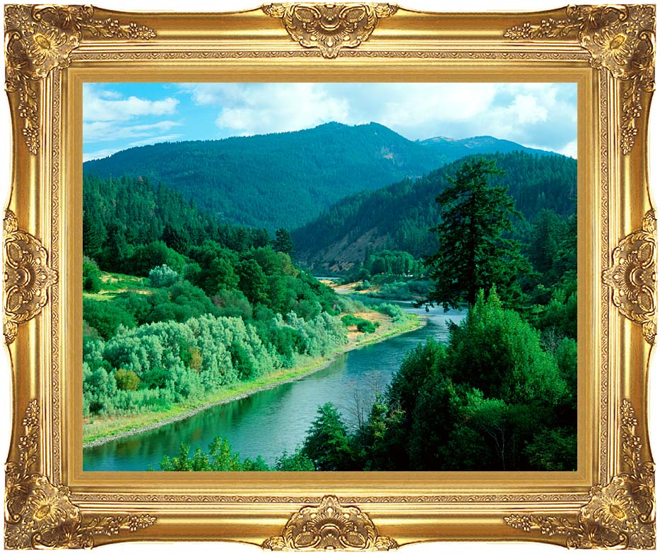 Visions of America Rogue River in Southern Oregon with Majestic Gold Frame