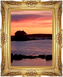 Visions of America House Silhouette At Sunrise Mt Desert Island Maine canvas with Majestic Gold frame