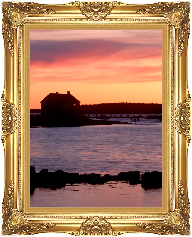 Visions of America House Silhouette at Sunrise, Mt Desert Island, Maine with Majestic Gold Frame