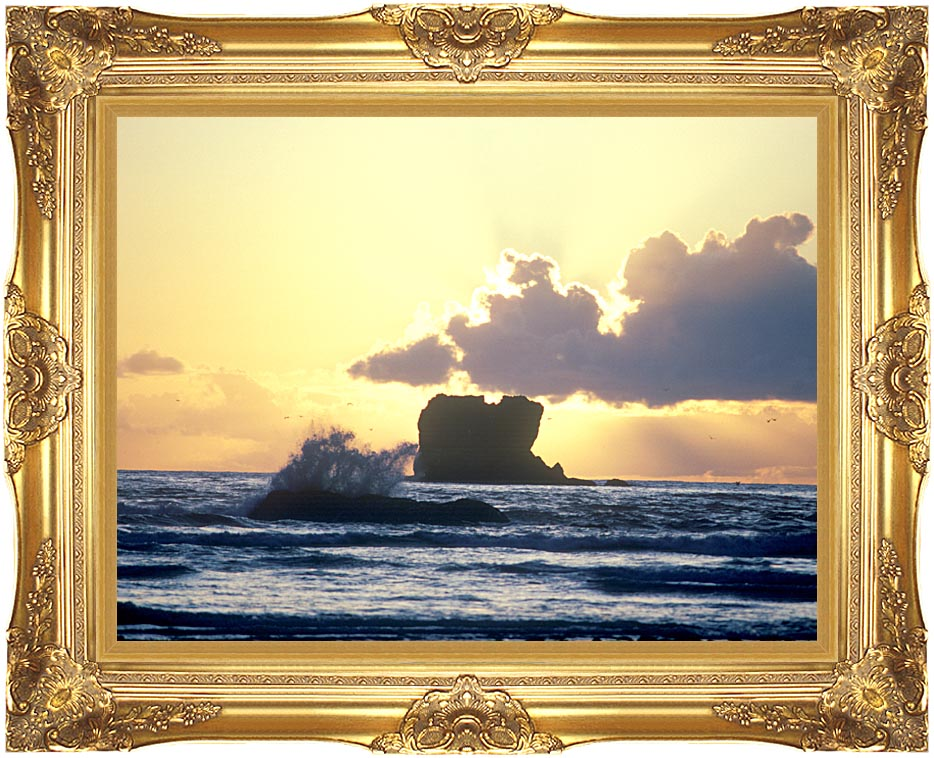 Visions of America Clouds at Sunset on Washington Coast with Majestic Gold Frame