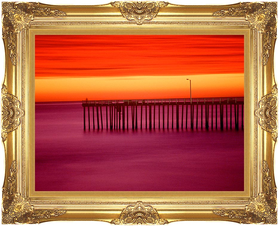 Visions of America Morro Bay Pier at Sunset, California with Majestic Gold Frame