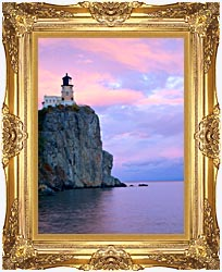 Visions of America Lighthouse Split Rock Minnesota canvas with Majestic Gold frame