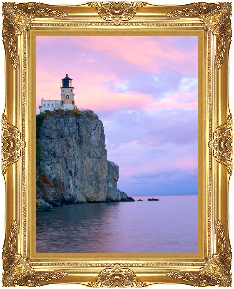 Visions of America Lighthouse, Split Rock, Minnesota with Majestic Gold Frame