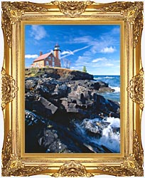 Visions of America Eagle Harbor Lighthouse Michigan canvas with Majestic Gold frame