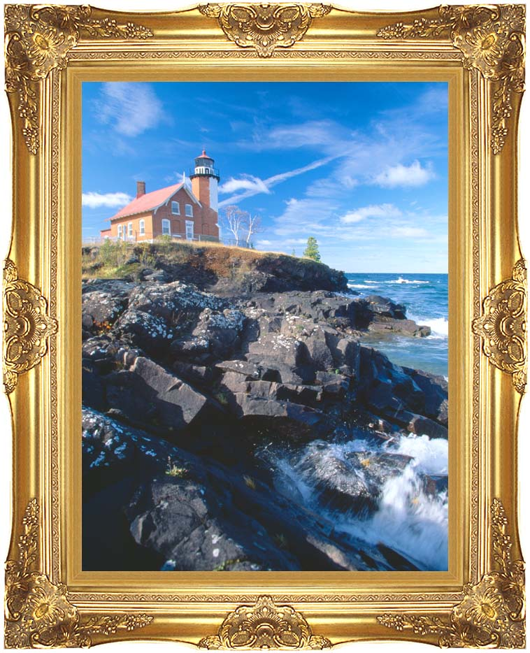 Visions of America Eagle Harbor Lighthouse, Michigan with Majestic Gold Frame