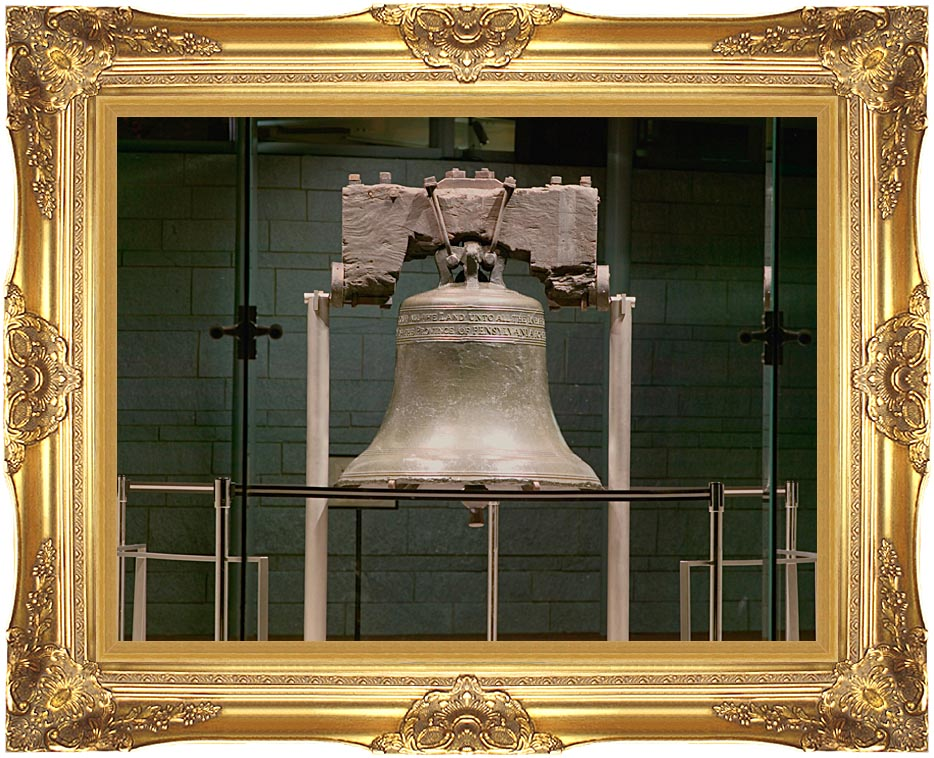 Visions of America Night Shot of Liberty Bell, Philadelphia with Majestic Gold Frame