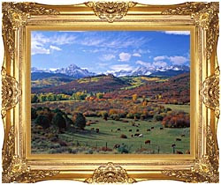 Visions of America Sneffels Mountain Range Colorado canvas with Majestic Gold frame