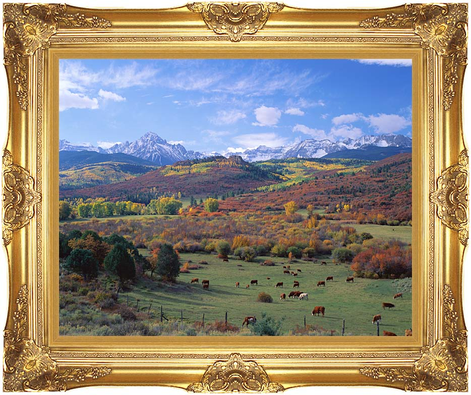 Visions of America Sneffels Mountain Range Colorado with Majestic Gold Frame