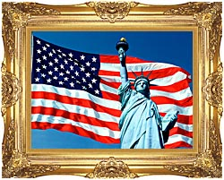 Visions of America American Flag And The Statue Of Liberty canvas with Majestic Gold frame