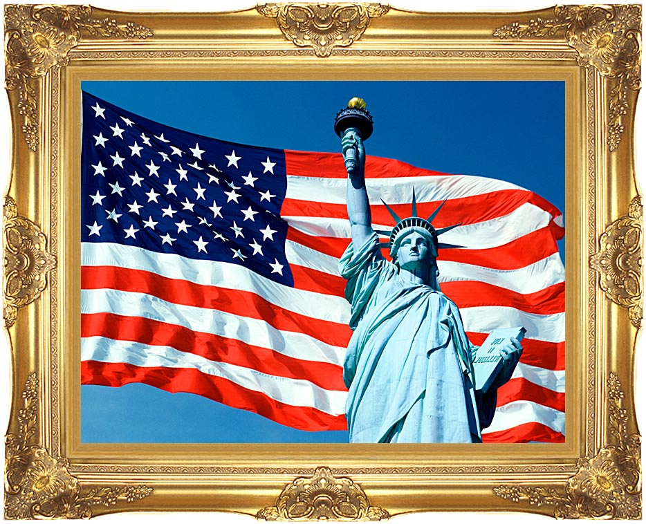 Visions of America American Flag and the Statue of Liberty with Majestic Gold Frame