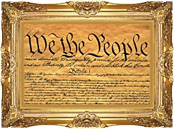 Visions of America Preamble To The U S Constitution   We The People canvas with Majestic Gold frame