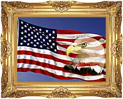 Visions of America American Flag  And A Bald Eagle canvas with Majestic Gold frame
