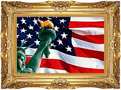 Visions of America Statue Of Liberty And American Flag canvas with Majestic Gold frame