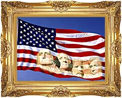 Visions of America American Flag And Mount Rushmore Presidents canvas with Majestic Gold frame