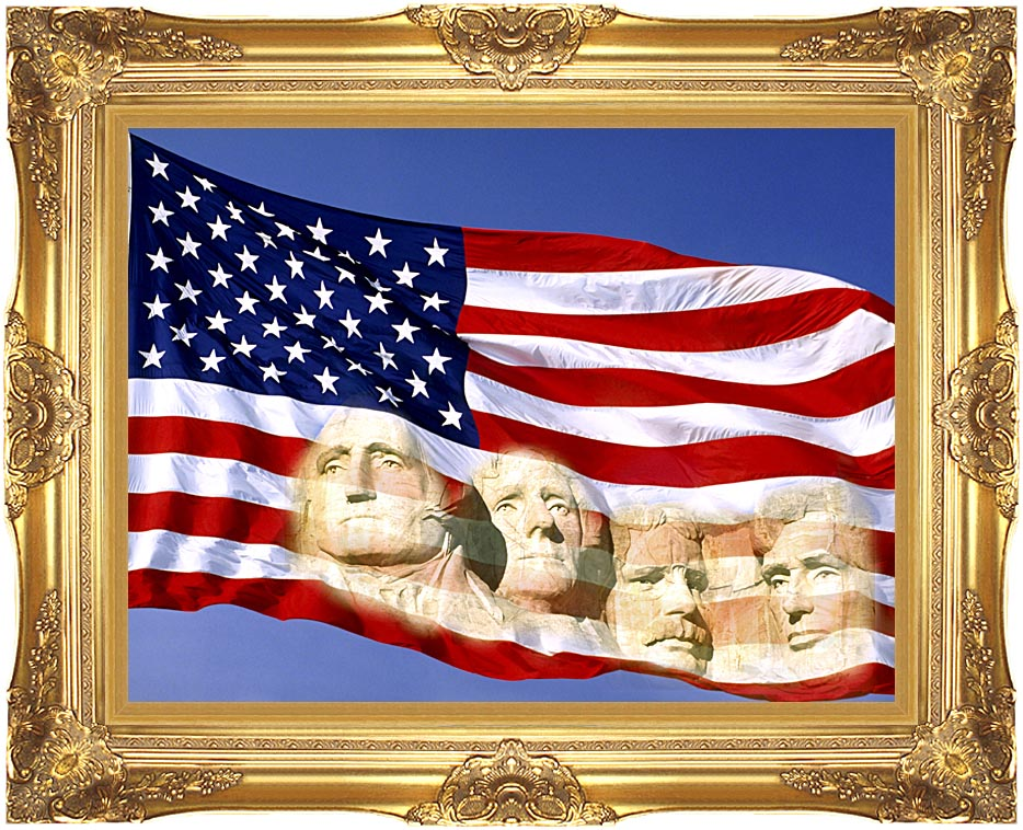 Visions of America American Flag and Mount Rushmore Presidents with Majestic Gold Frame