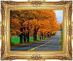 Visions of America An Autumn Road In New England canvas with Majestic Gold frame