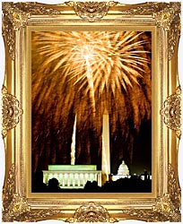 Visions of America Fourth Of July Celebration With Fireworks Exploding Over The Lincoln Memorial Washington Monument And U S Capitol Washington D C canvas with Majestic Gold frame