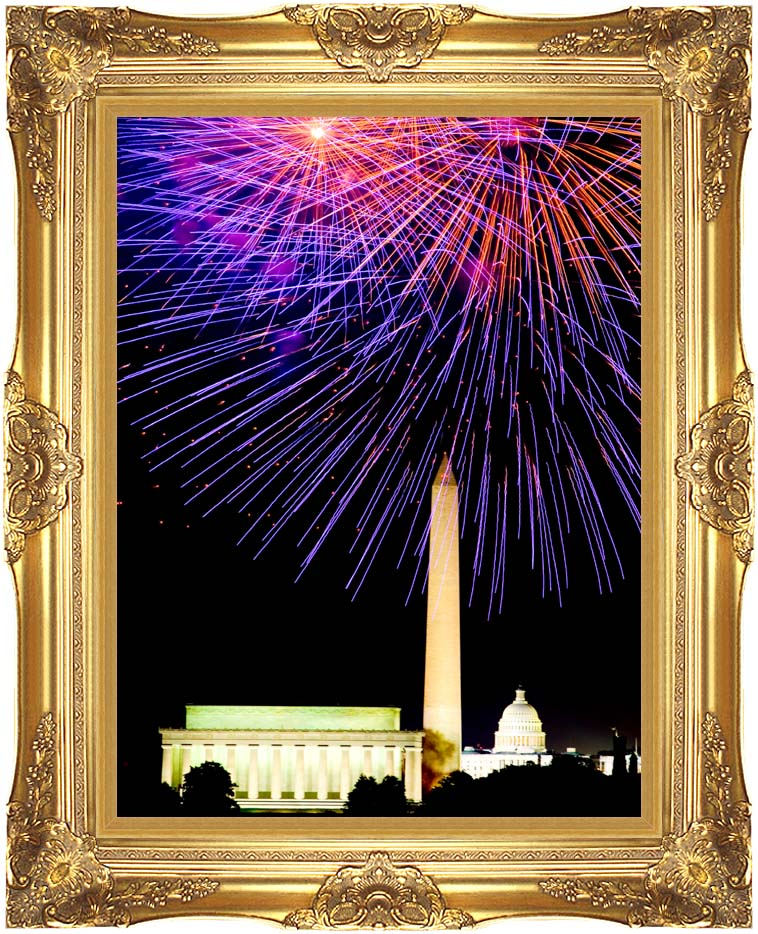 Visions of America Patriotic Fourth of July Celebration with Fireworks with Majestic Gold Frame