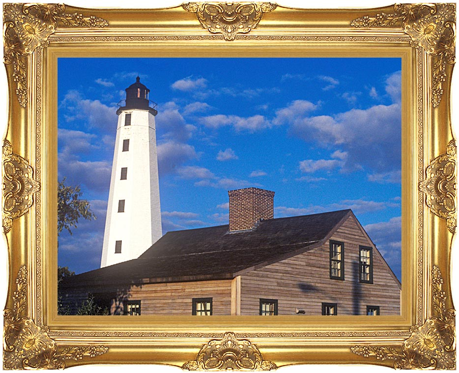 Visions of America New London Harbor Lighthouse, Connecticut with Majestic Gold Frame