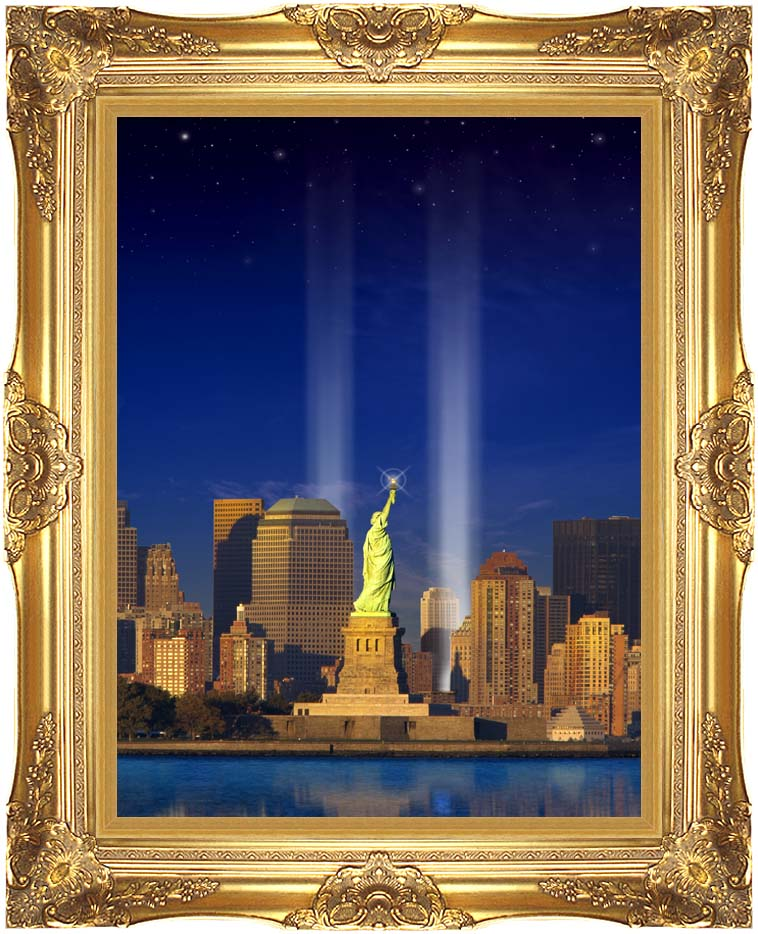Visions of America World Trade Center Light Memorial with Majestic Gold Frame